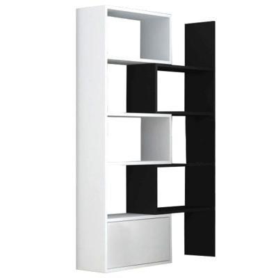 Modern, növelhető méretű könyvespolc, fekete-fehér - IRLANDE